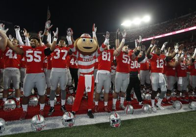 7 November 2015: Brutus the Buckeye signs Carmen Ohio with the team following their victory between the Ohio State Buckeyes and the Minnesota Golden Gophers at the Ohio Stadium in Columbus, Ohio. (Photo by Khris Hale/Icon Sportswire) (Newscom TagID: iconphotosfour338651.jpg) [Photo via Newscom]